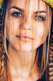 Close up portrait of blond woman with plaits Royalty Free Stock Photos