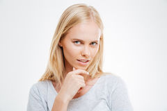 Close up portrait of a blonde girl thinking about something Royalty Free Stock Photography