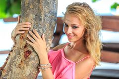 Close-Up Portrait Of Blonde Smiling Woman Royalty Free Stock Photography