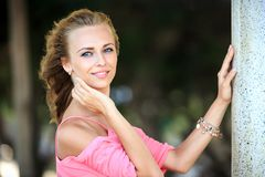 Close-Up Portrait Of Blonde Woman Royalty Free Stock Images