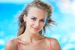 Close-Up Portrait Of Blonde Woman Royalty Free Stock Photos
