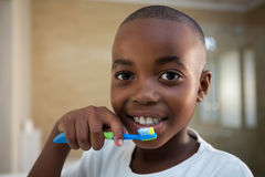 Close-up portrait of boy with toothbrush Royalty Free Stock Photography