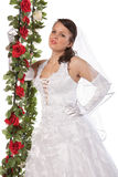 Close-up portrait of bride with flowers Royalty Free Stock Image