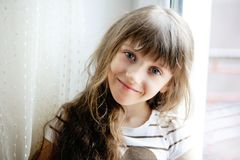Close-up portrait of brunette child girl Stock Photo