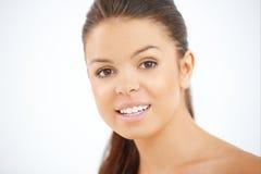 Close up portrait of brunette girl stock image