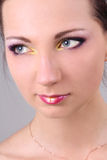 Close-up portrait of brunette with make up Royalty Free Stock Photography