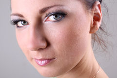 Close-up portrait of brunette with make up Stock Image