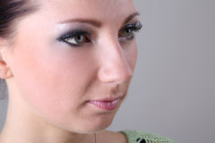 Close-up portrait of brunette with make up Stock Images