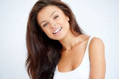 Close up portrait of brunette woman Stock Photo