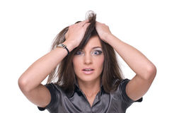 Close up portrait of business woman with problem Stock Images