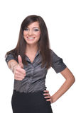 Close up portrait of business woman. Thumbs up! Royalty Free Stock Photography