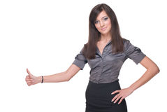 Close up portrait of business woman. Thumbs up! Royalty Free Stock Image