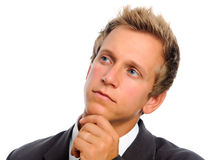 Close up portrait of businessman thinking Stock Images