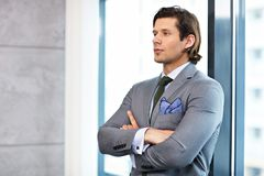 Close up portrait of businessman at workplace royalty free stock photo