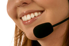Close up portrait of call center operator. On white background Royalty Free Stock Images