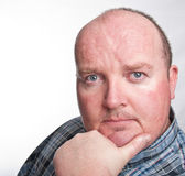 Close up portrait capture of overweight male Royalty Free Stock Photography