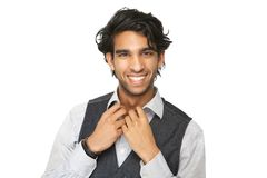 Close up portrait of a casual young man smiling Stock Photos