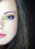 Close-up portrait  caucasian young woman Royalty Free Stock Photos