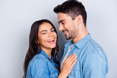 Close up portrait of caucasion lovely couple - smiling man with royalty free stock photos