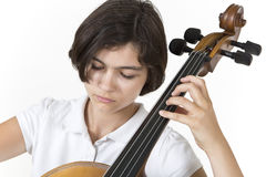 Close-up portrait of cello player Stock Images