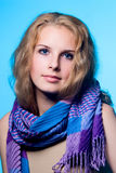 Close-up portrait of a charming girl with a scarf Royalty Free Stock Photos