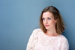 Close up portrait of a charming woman in sweater Stock Photography