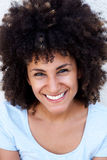 Close up cheerful beautiful woman with curly hair  on white Royalty Free Stock Photos