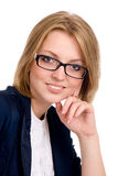Close-up portrait of a cheerful business woman Stock Image