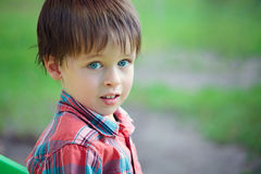 Close-up portrait of cheerful little boy Stock Photos