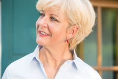 Close-up portrait of a cheerful senior woman with good health an Royalty Free Stock Photography