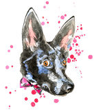 Close up portrait of cheerful watercolor dog Stock Image