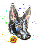 Close up portrait of cheerful watercolor dog Royalty Free Stock Photos
