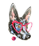 Close up portrait of cheerful watercolor dog Royalty Free Stock Images