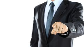 Close up portrait of  confident business man pointing to you Royalty Free Stock Image