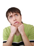 Close-up portrait of confuse man Royalty Free Stock Images