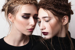 Close-up portrait of couple beauty girls with pigtails Royalty Free Stock Photography