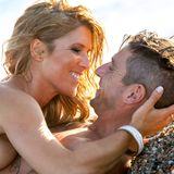 Close up portrait of couple about to kiss. Stock Images