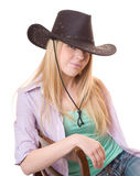 Close up portrait cowgirl Stock Images