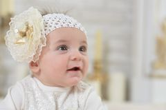 Close-up portrait of cute adorable baby girl stock photo