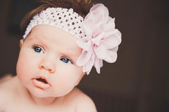Close-up portrait of cute baby girl. Big surprised open eyes. Healthy little kid shortly after birth. Stock Photography