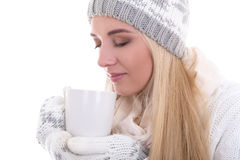 Close up portrait of cute beautiful woman in winter clothes with Stock Image