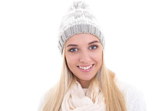 Close up portrait of cute beautiful woman in winter clothes isol Royalty Free Stock Photography