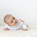Close up portrait of cute caucasian baby boy stock photo