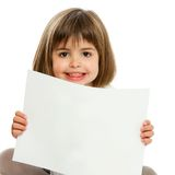 Cute little girl holding blank paper. Close up portrait of cute girl holding blank paper.Isolated Royalty Free Stock Photos