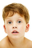 Close up portrait of cute little boy on white Stock Photography