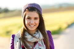 Close up portrait of cute teen girl outdoors. Stock Photo