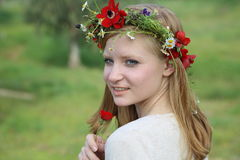 Close up portrait of Cute teen girl with a wreath Stock Photography