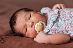 Cute two weeks old newborn baby girl with a pacifier. Close up portrait of a cute two weeks old newborn baby girl wearing a floral dress with sleepy eyes Stock Photography