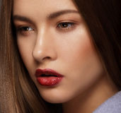Close Up Portrait of Cute Woman with Perfect Skin Royalty Free Stock Photos