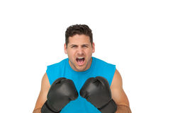 Close-up portrait of a determined male boxer screaming Royalty Free Stock Images